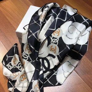 NWOT Chanel Camellia silk scarf